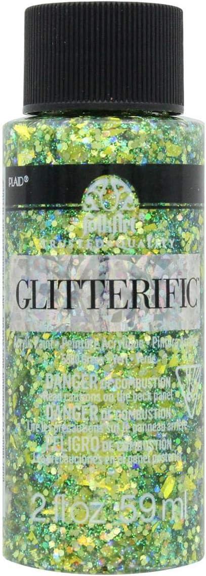 Plaid:Craft FolkArt Glitterific Glitter Paint 2oz Green