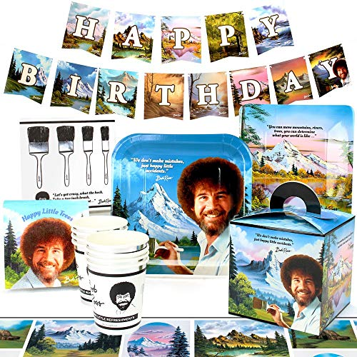 Bob Ross Party Supplies (Deluxe) Classic Birthday Party Pack, 74 Piece Set, by Prime Party ()