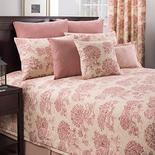 3 Piece Canvas Red Toile Design Comforter Set