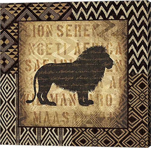 African Wild Lion Border by Wild Apple Portfolio Canvas