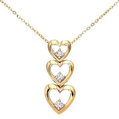 Naava Women's 9 ct White Gold Pave Set Diamond Triple Heart Pendant and Chain Necklace of 46 cm 3VDHUN