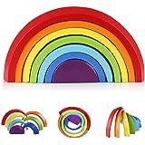 Afunti De Madera Arco Iris Apilado Juego Aprendizaje Juguete Geometría Bloques De Construcción Juguetes Educativos para…