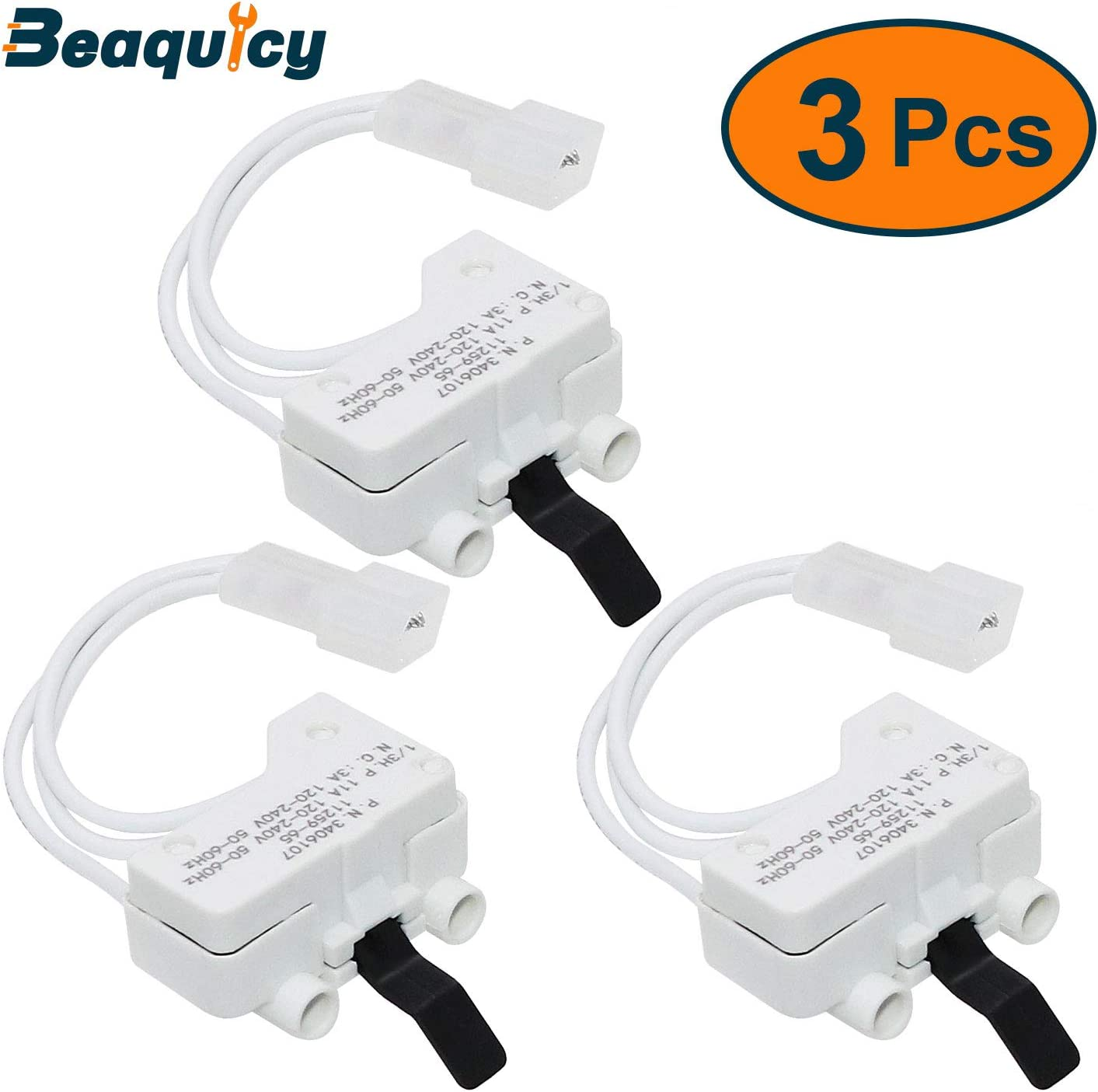 3406107 Dryer Door Switch by Beaquicy - Replacement for Whirlpool, Kenmore, Roper, Amana, Crosley Dryer - Replaces 3406109 (3-Pack)