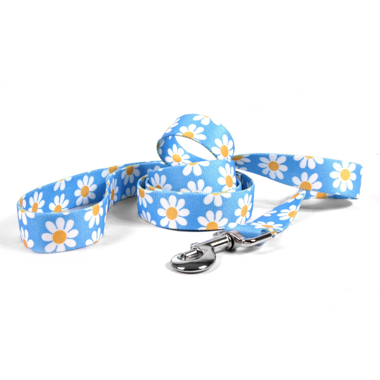 Yellow Dog Design Blue Daisy Dog Leash 1'' Wide And 5' (60'') Long, Large