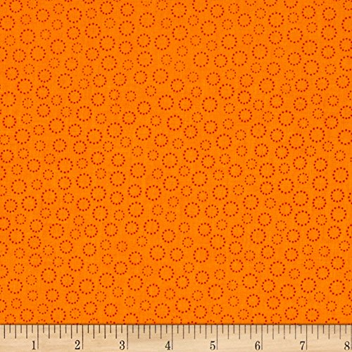 P & B Textiles Bear Essentials 3 Dotted Rings Fabric by the Yard, Orange -  0564496