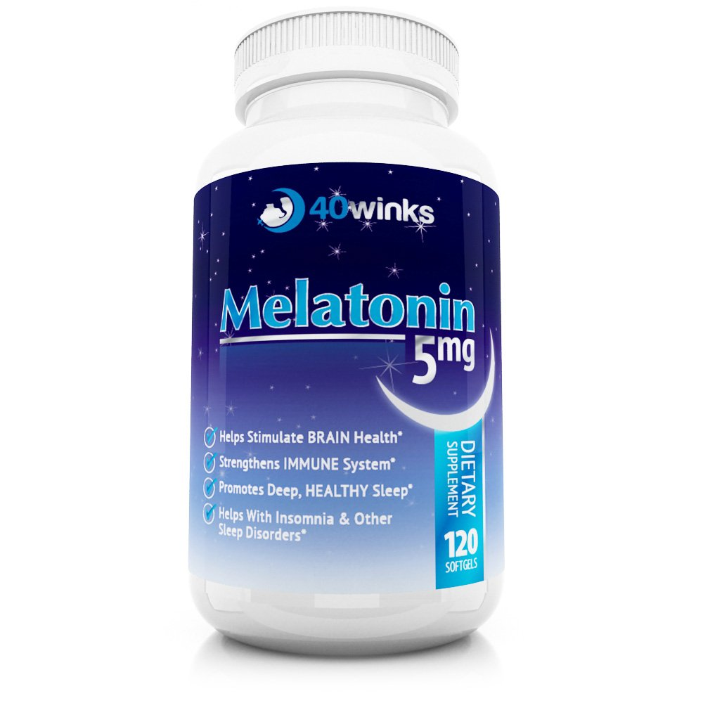 Amazon.com: 40Winks Melatonin 5mg, 120 Soft Gel Capsules, Natural Melatonin Sleep Aid, Made in USA, Melatonin Time Release Natural Sleep Supplement, ...