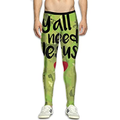 MADSDKFULA Y'all Need Jesus Men Running Tight Trousers Workout Sport Long Pants
