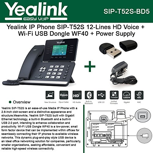 Executive High Speed Usb - Yealink SIP-T52S IP Phone 12Lines + Wi-Fi USB Dongle WF40 + Power Supply