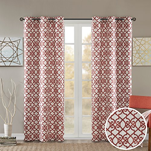Room Darkening Curtains for Bedroom - Printed Fretwork Viola Window Curtains Pair - Brick Red - 42x84 Inch Panel - Foam Back Energy Saving Curtains for Living Room - Grommet Top - Include 2 Panels