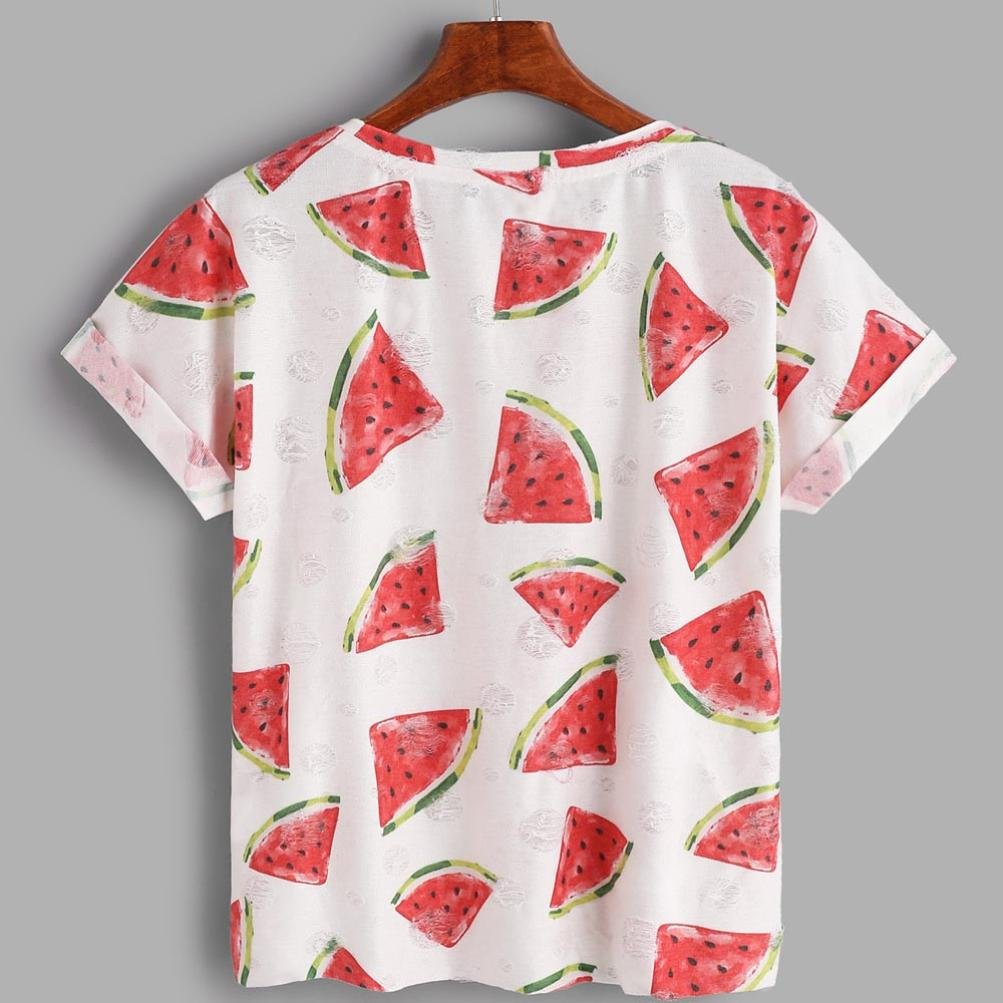 Amazon.com: DondPO Clearance Women Elegant Summer Short Sleeve T Shirt Print Watermelon Top Casual Blouse Loose Girls Cute Clothes: Clothing