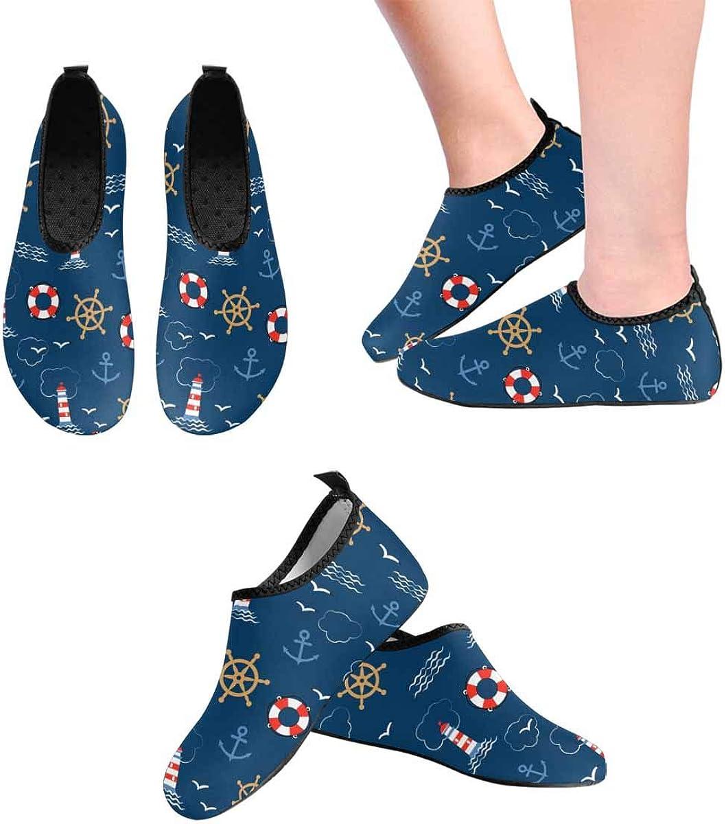 INTERESTPRINT Mens Water Shoes Swim Socks Anchors Seagulls Athletic Aqua Water Shoes Socks