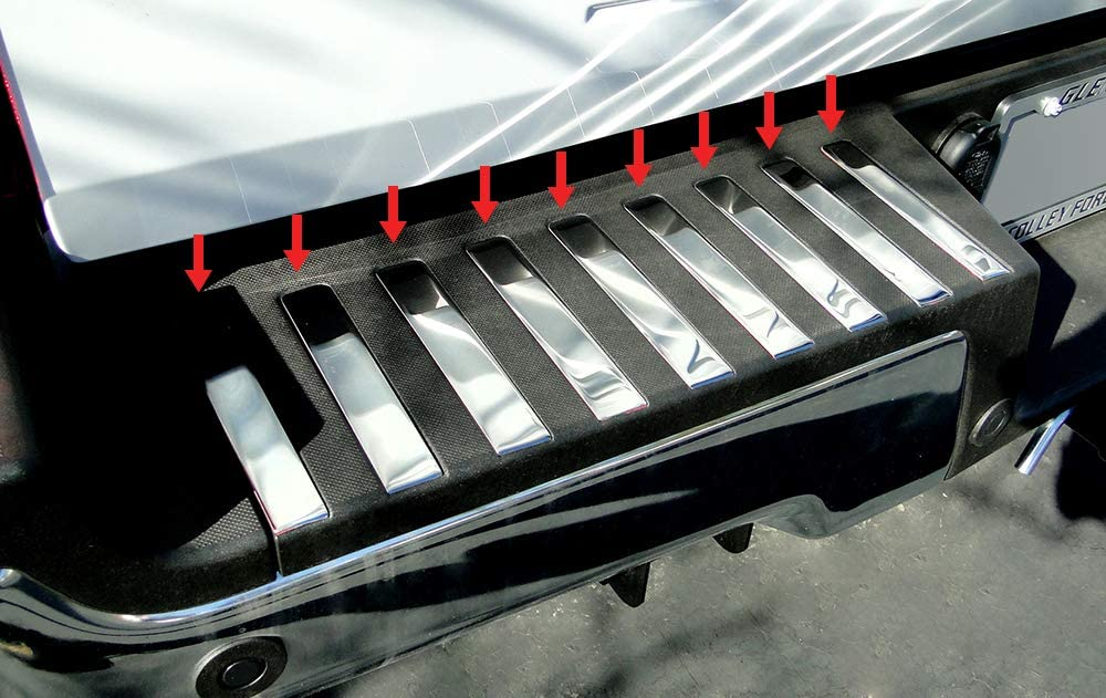 MAXMATE Made in USA Works with 2017-2020 Ford F-250 F-350 Super Duty Stainless Steel Rear Bumper Trim Inserts 18 PC