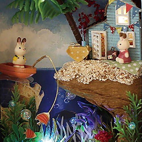 MMRM Maison de Poup/ées DIY 3D Th/é/âtre Miniature Bo/îte LED Fille Enfants Jouet R/êve de Neige Bleu