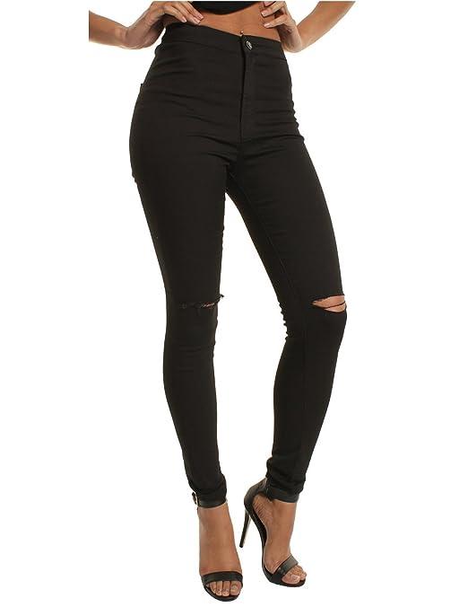 carinacoco Donna Pantaloni Lunghi Jeans Strappati Elastico Vita Alta Skinny Denim Casuale Trousers Butt Enhancer Slim Fit Primavera Inverno
