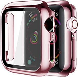 Supoix Compatible for Apple Watch Screen Protector 38mm, 2 Pack Hard PC Case with Slim Tempered Glass Screen Protector Overall Protective Cover for iWatch Series 3/2/1 (38mm Black)