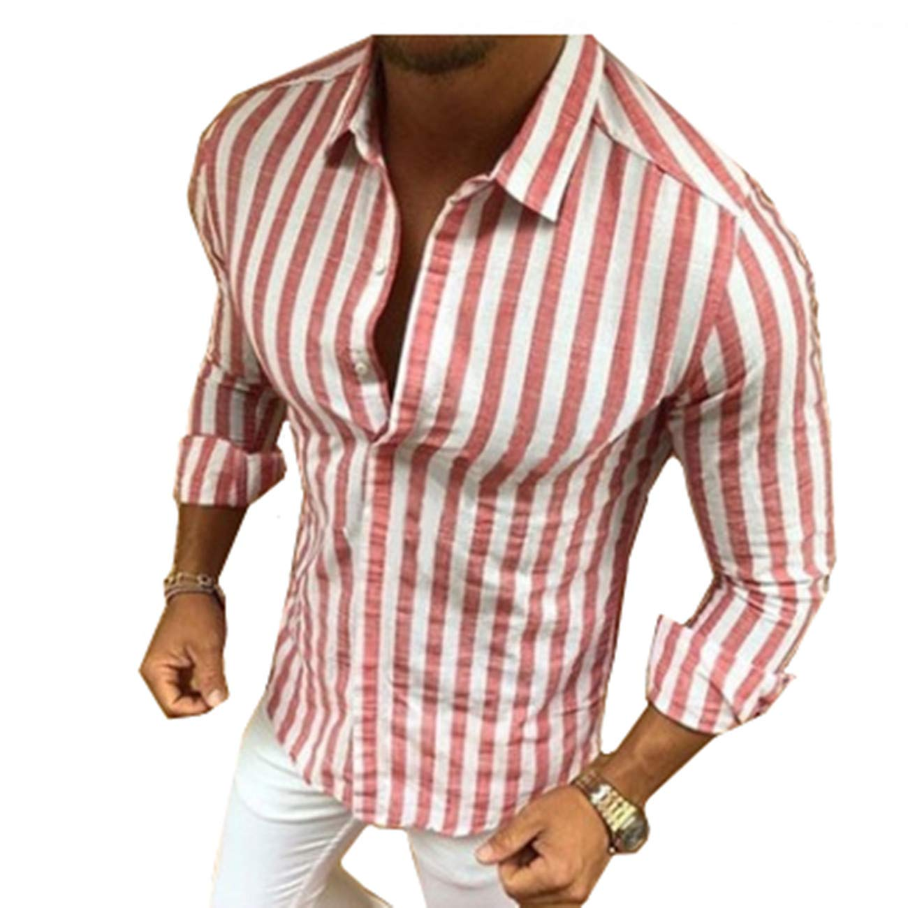 Baonmy Mens Casual Vertical Striped Slim Fit Long Sleeve Button Down Dress Shirts