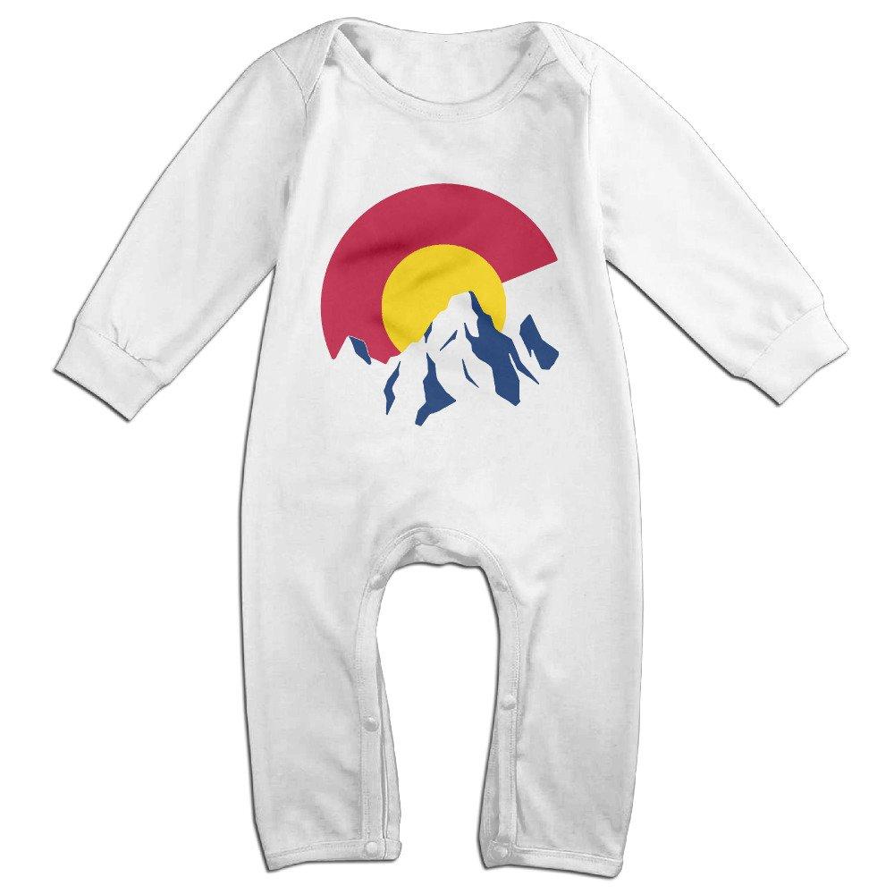 TYUI Cute Big Colorado Flag Mountains Romper for Toddler White