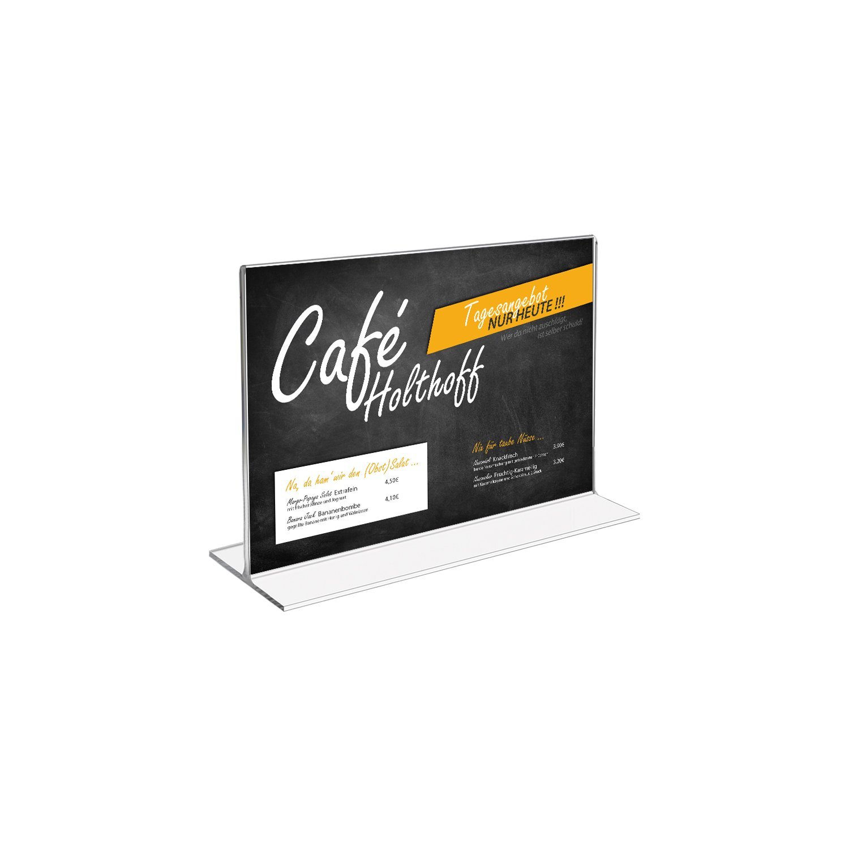acrilico Supporto del Menu 15,3 x 11,2 x 6,7 cm HMF 46923-10 x Supporto Pubblicitario Formato Orizzontale A6