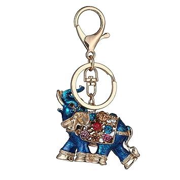Yibenwanligod Lucky Elephant Llavero colorido de diamantes ...