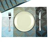 Hihome Table Placemats Set of 6 Blue Square Washable Waterproof Place Mats for Kitchen Dining Table
