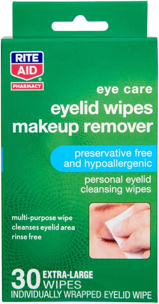 Rite Aid Makeup Remover Eyelid Wipes - 30 Wipes   Hypoallergenic Makeup Remover Wipes