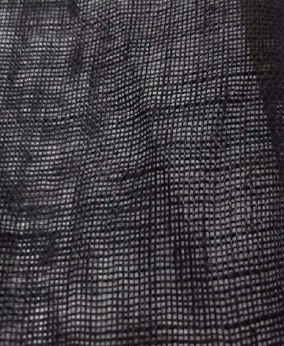 (Mesh Sheer 100% Linen Fabric 55 Inch By the Yard/ By the Meter (Black))
