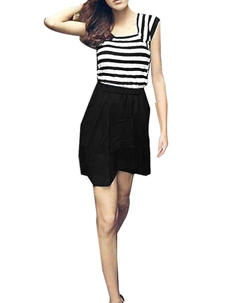 Sleevelss traje de neopreno para mujer Mini e instrucciones para hacer vestidos sudadera diseño de rayas