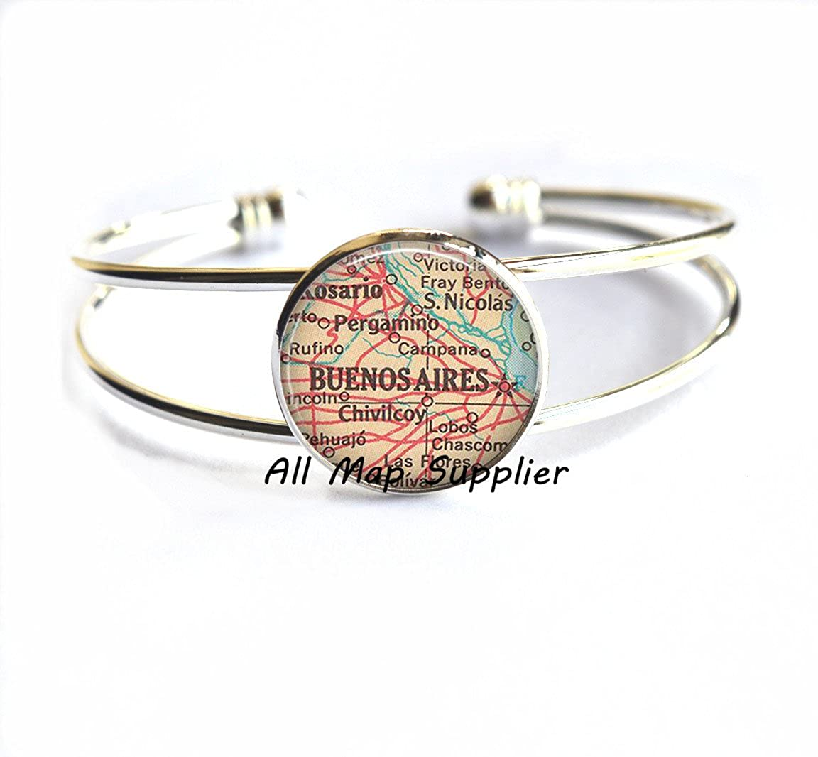 Buenos Aires Bracelet Buenos Aires map Bracelet Buenos Aires Bracelets,A0118 Charming Bracelet,Buenos Aires map Bracelets,