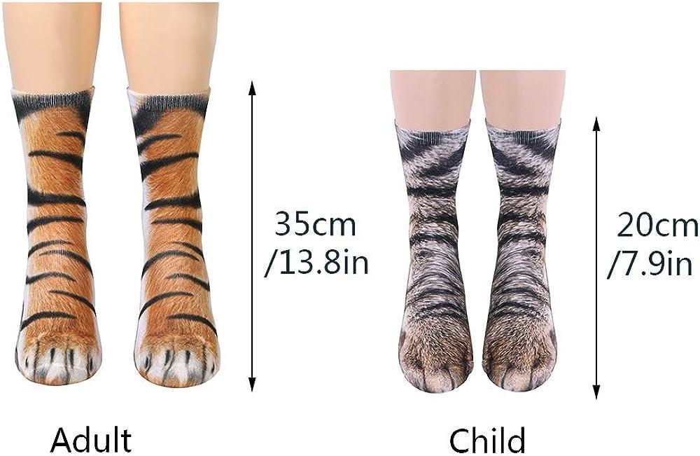 Timers Animal Paw Crew Socks 3D Print Novelty Socks Halloween Cosplay Gift