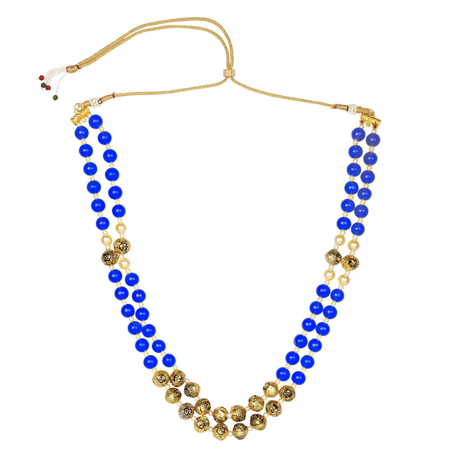 Efulgenz Indian Bollywood Antique Multi Layered Faux Pearl Beaded Bridal Wedding Strand Blue Statement Necklace Jewelry