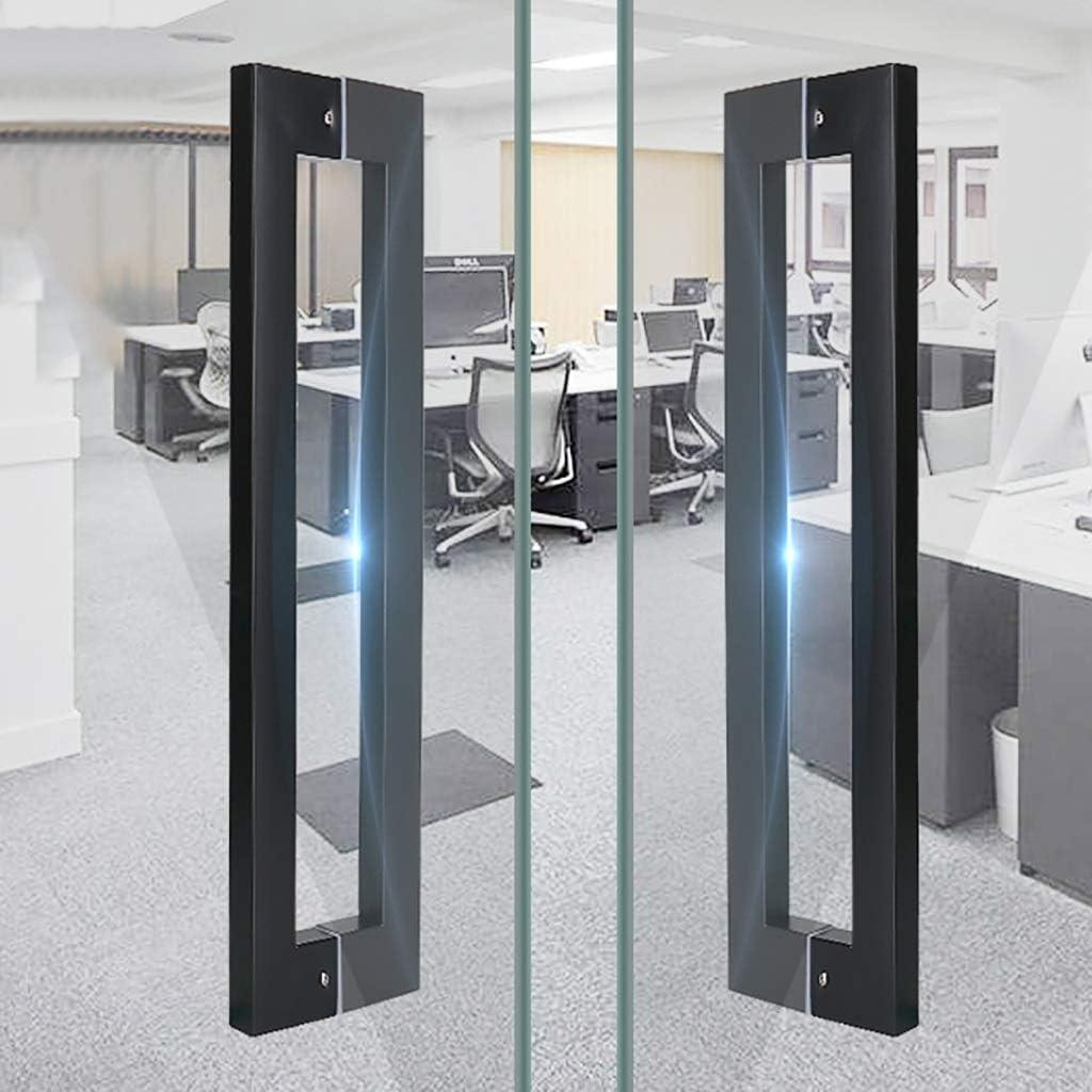 10 Lengths Black Size : 638/×600mm Door Handle Heavy Duty Stainless Steel Square Tube Glass Door Handle Sliding Door Handle Bathroom Shower Door Handle