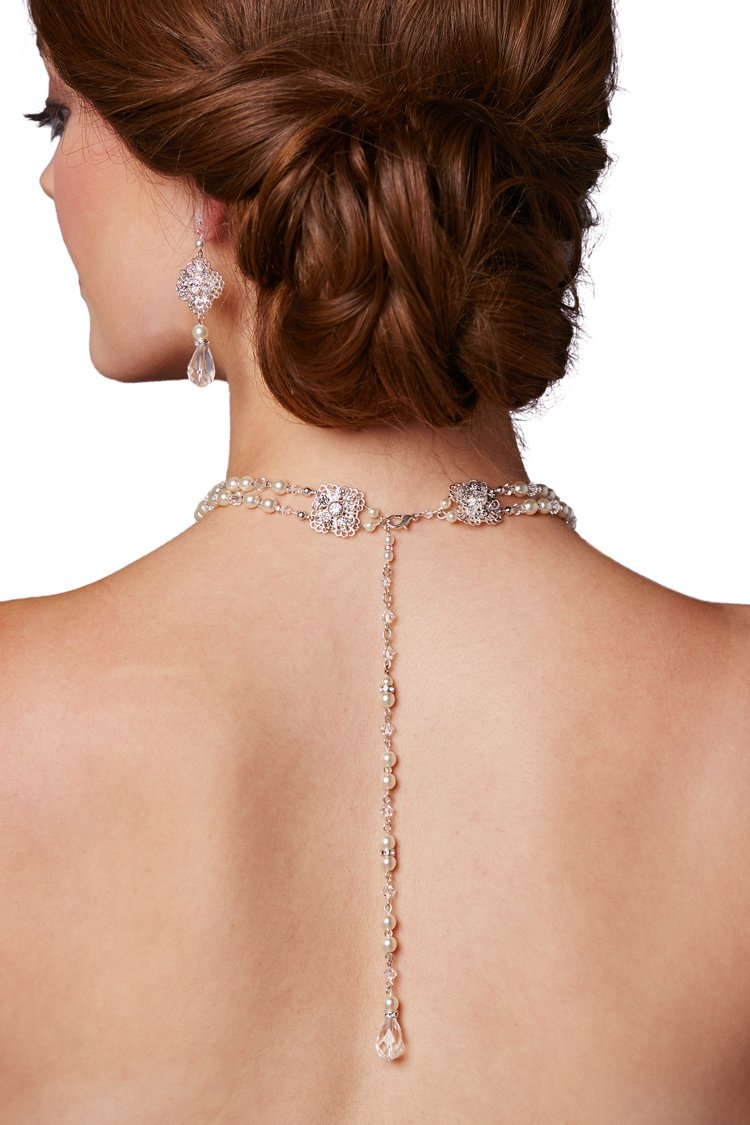 Mariell 2-Row Glass Pearl & Crystal Back Drop Bridal Necklace for Weddings & Prom - Handmade in the USA