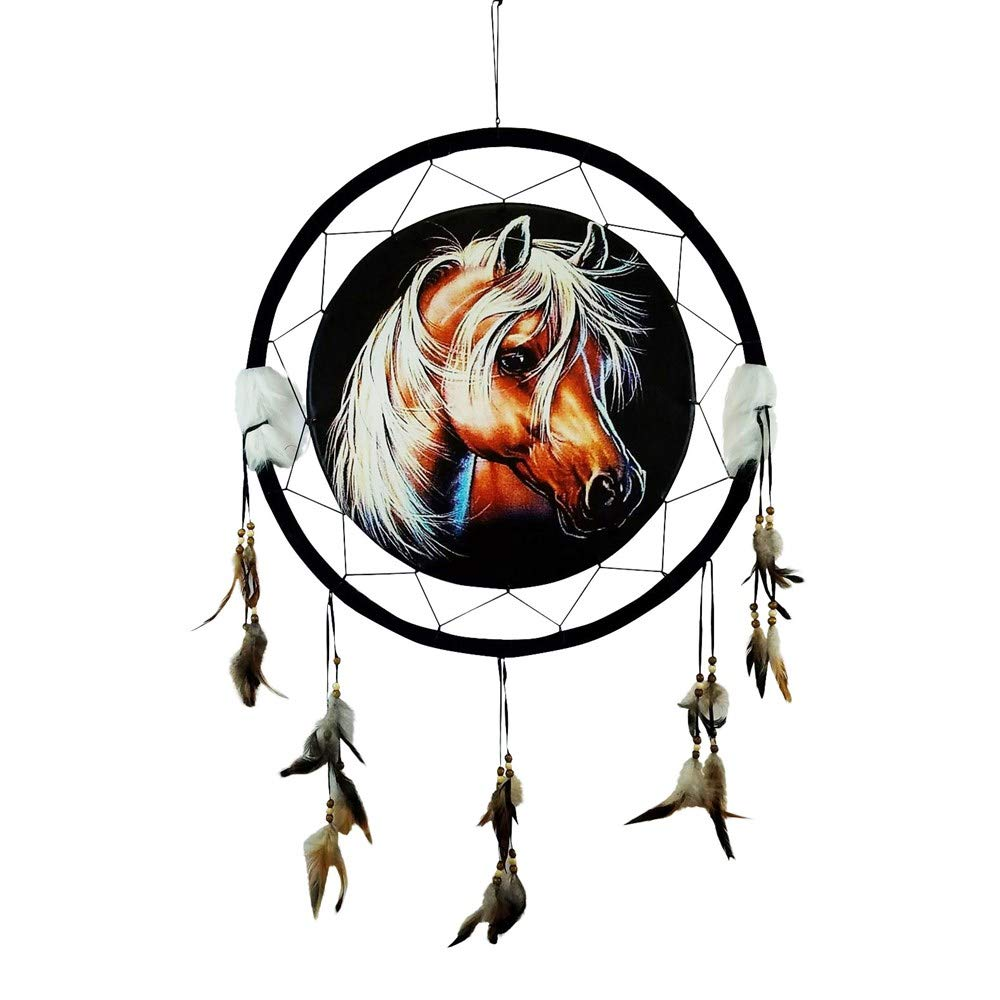 """HORSE HEAD Dream Catcher 24"""" x 42"""" Natural Wall Hanging with Beads, Feathers, Hanging Nail and Descriptive Card Bundle by Imprints Plus (1012)"""