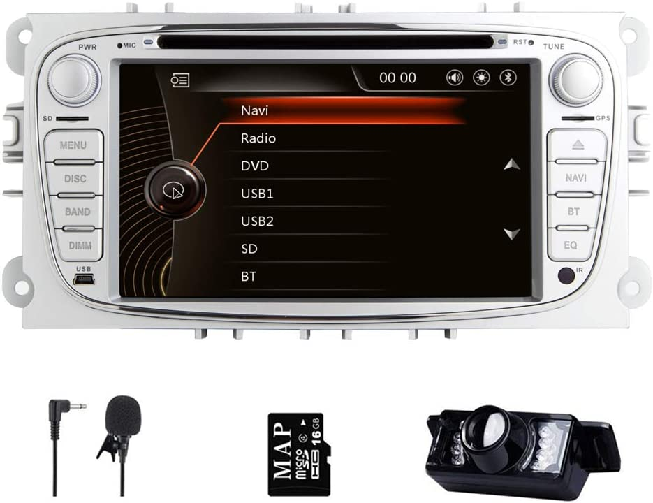 Doppel Din Autoradio Radio Für Ford Mondeo Galaxy S Max Focus 7 Zoll Navi Mit Dvd Player Gps Navigation Touchscreen Lenkradsteuerung Bluetooth Navigation