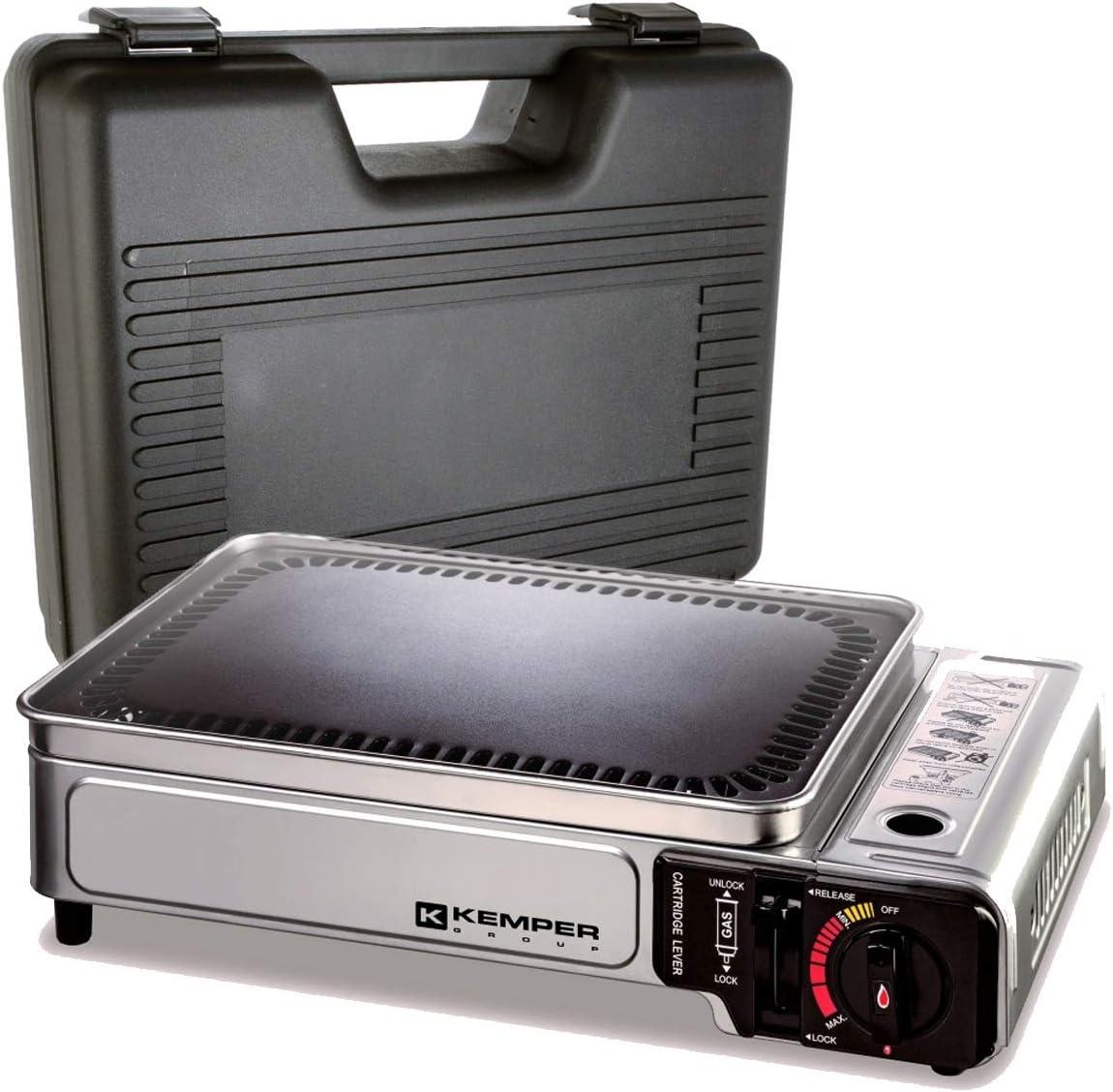 Plancha de gas portátil 2300 W Kemper placa antiadherente maleta de transporte