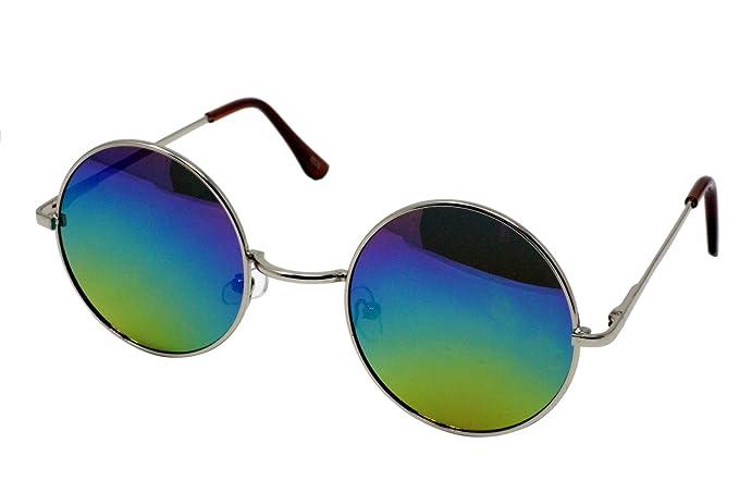 Belle unisexe dernière conception lunettes de style hippie lunettes de soleil rond lunettes anti-reflets (miroir bleu avec cadre en argent) 0tIqL1