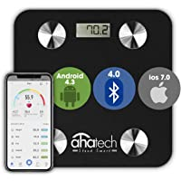 AHATECH Digital weight scale, Smart Scale Bluetooth Body Fat Scale with IOS and Android APP, Smart Digital Bathroom Scale for Body Weight, Body Fat, Body Water, Skeletal Muscle, Muscle Mass, Bone Mass, Protein, BMI, BMR, Fitbit, Metabolic Age, Bluetooth SmartScale FREE DATA CHARGING CABLE