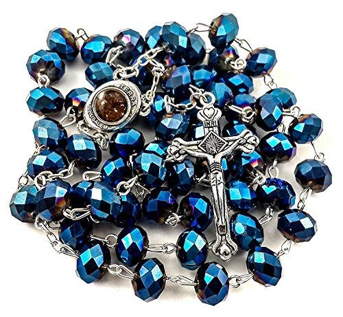 Crystal River Bead (Holy Land Rosary Jerusalem Soil Bethlehem Olive Wood Jordan River Water Silver Crucifix by Bethlehem Gifts TM (Deep Blue Rosary))