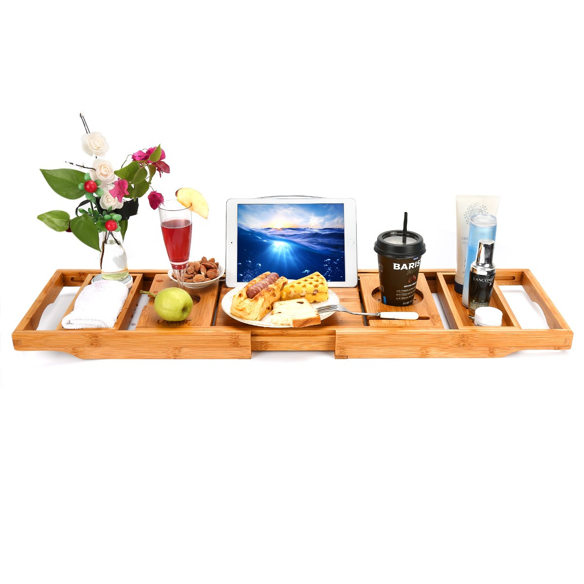 Wooden-Life Bathtub Caddy Tray& Laptop Desk with Foldable Legs, 2 in 1 Wisdom Design - Luxurious Bathtub Caddy with Extending Sides, Tablet Holder, Reading Rack,Cellphone Tray and Wine Glass Holder by Wooden-Life (Image #7)