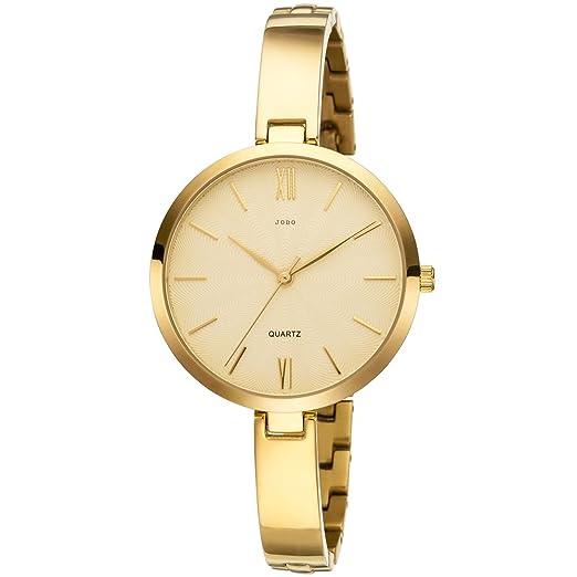 Jobo Mujer Reloj De Pulsera Cuarzo Analog Titanio Dorado Mujer Reloj: Amazon.es: Relojes