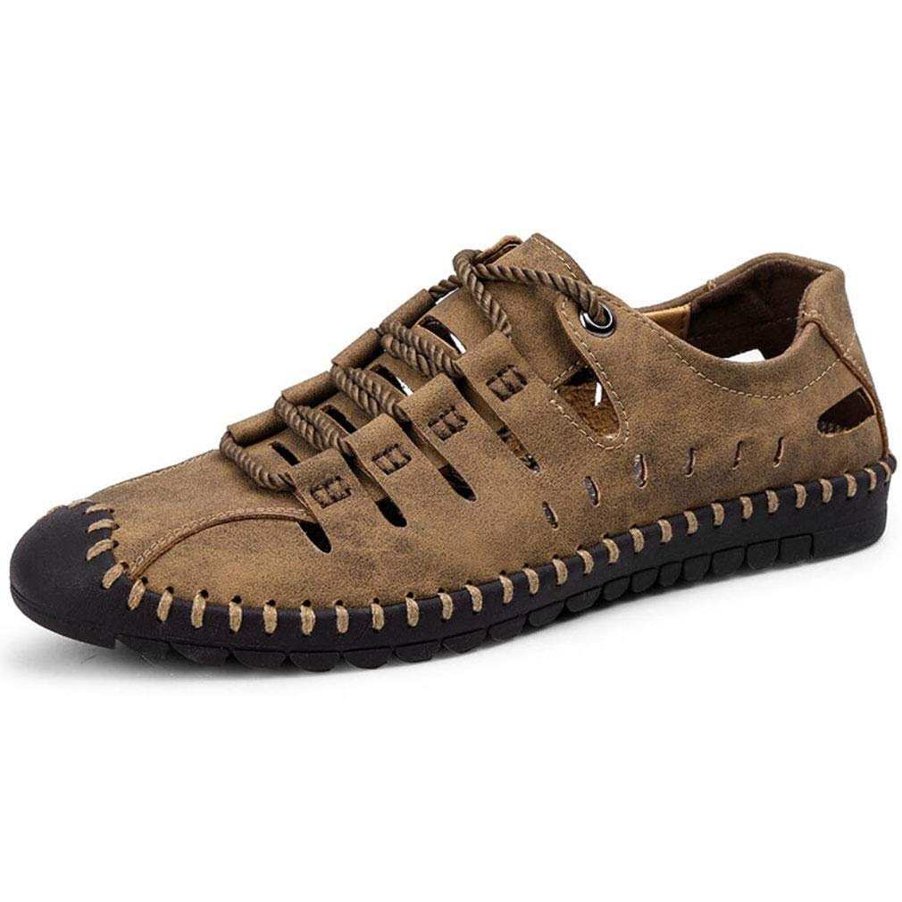YAN Herrenschuhe Mikrofaser Frühling Herbst Leichte Casual Loafers/Driving Schuhe Lace up Breathable Niedrig-Top Sandaleen 2018 Mode (Farbe : Braun, Größe : 41)