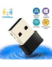 USB WiFi Adapter, 1200Mbps USB 3.0 Dual Band WiFi Dongle, 5GHz/2.4G 802.11ac WiFi Dongle 2 Antennas Wireless Network Adapter for PC/Desktop/Tablet,Supports Windows XP/Vista/7/8/10