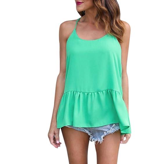 QinMM Camiseta Sin Tirantes Para Mujer, Blusa de Chifón de Verano Sin Mangas Camisas Tops