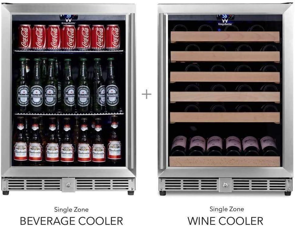 Home Use /& Commercial Refrigerator Hardwood Shelves KingsBottle Glass Door Wine /& Beverage Fridge 46 Bottles Vibration Free 225 Pounds 3 Zone Dual Cooler with Temperature Control 160 Cans