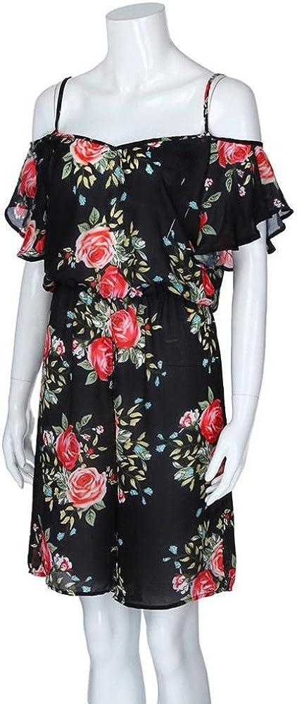 Goddessvan 2019 Women Plus Size Camisole Print Fashion Casual Short Sleeve Waist Tie Jumpsuit