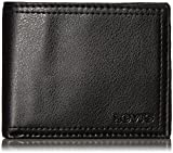 Levi's Men's Extra Capacity Leather Slimfold Wallet, Black, One Size