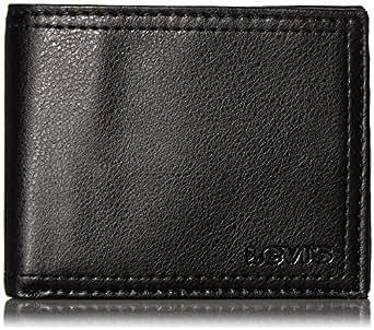 Levi's Men's Extra Capacity Leather Slimfold Wallet,Black,One Size