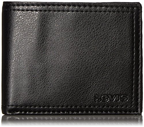 Levi's Men's Slim Bifold Wallet - Genuine Leather Casual Thin Slimfold with Extra Capacity and ID Window, Black, One sizee