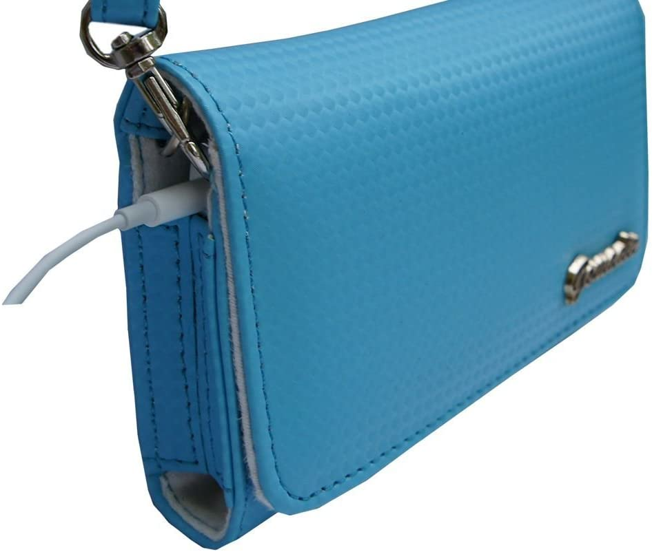 Women Designer Blue Stylish Handbag Carrying Case Purse sized for Casio devices with Shoulder//Hand
