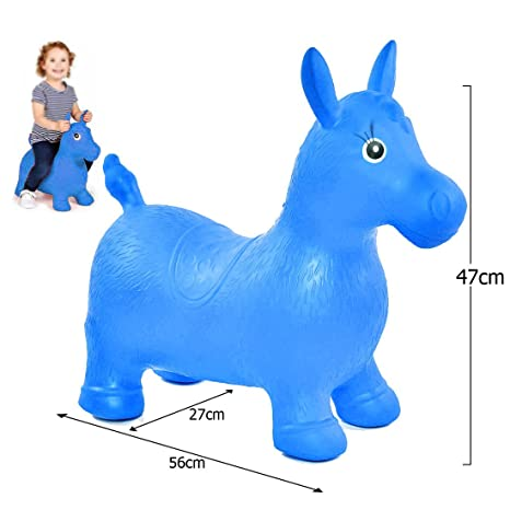 preview of 100% genuine online shop JJOnlineStore - Kids Boys Girls Animal Space Hopper Happy Inflatable Soft  Horse Ride on Bouncy Soft Play Toys Bouncing Exercise Game (Blue)
